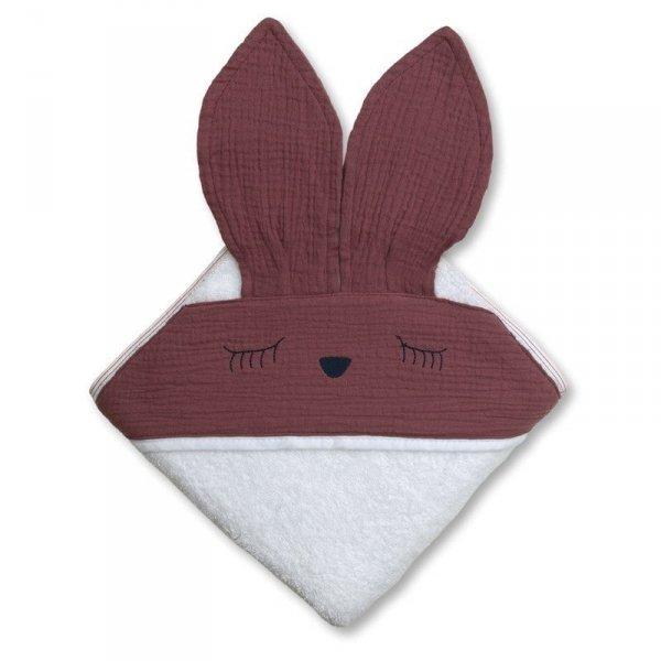 Ręcznik z kapturem dla niemowlaka śpiący króliczek w kolorze lawendowym 100/100