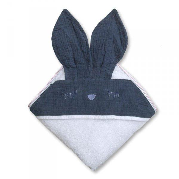 Ręcznik z kapturem dla niemowlaka śpiący króliczek w kolorze niebieskim 100/100