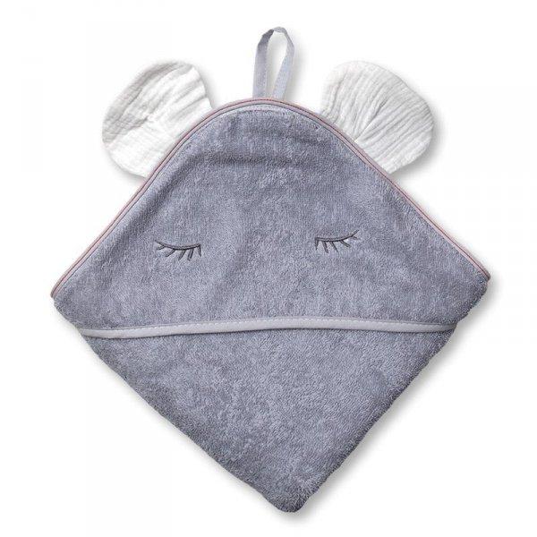 Hi Little One - Ręcznik z kapturkiem 100 x 100 MOUSE hooded bath towel White