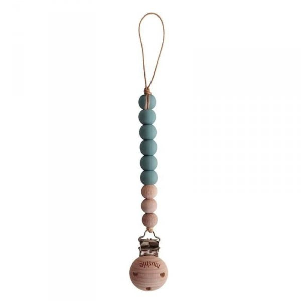 Drewniana koralikowa zawieszka do smoczka - niebieska