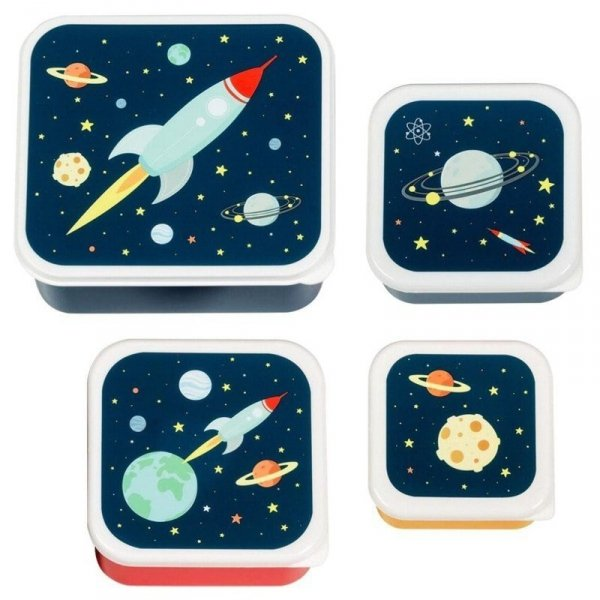 Pudełko na śniadanie - Lunchbox -  Kosmos zestaw -  4 szt.