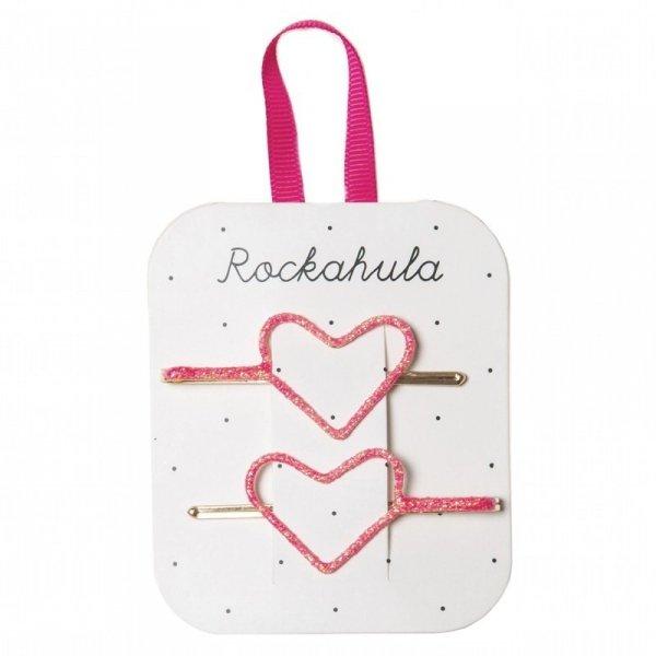 Rockahula Kids - wsuwki do włosów dla dziewczynki Glitter Heart Neon Pink
