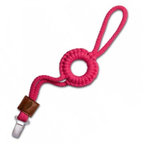 Hi Little One - sznurkowa zawieszka z kółkiem do smoczka Pacifer holder with RING Raspberry