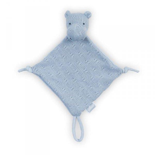 Przytulanka dou dou z zawieszką na smoczek Hipopotam Niebieski - Jollein