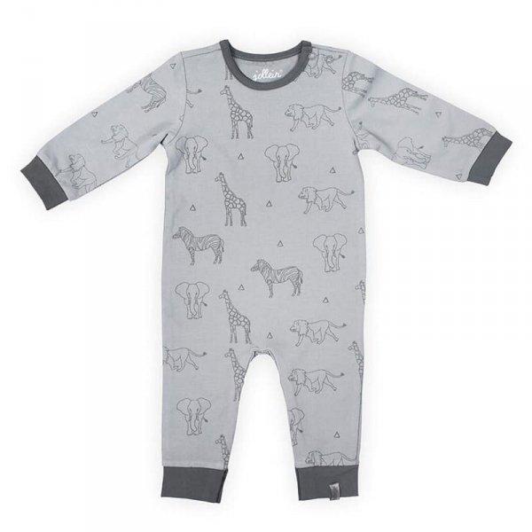 Piżamka rozpinana z BIO bawełny organicznej Safari GREY 50/56 - Jollein