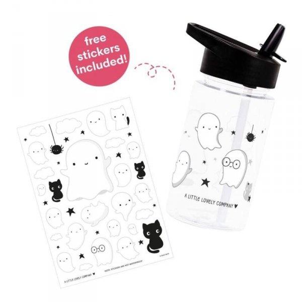 Bidon transparentny dla dziecka ze składanym ustnikiem Duszek z naklejkami - A Little Lovely Company