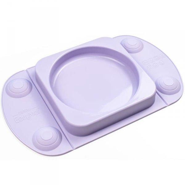 Silikonowy talerzyk dla dziecka z podkładką- lunchbox LILAC EasyTots - EasyMat Mini Max 2in1