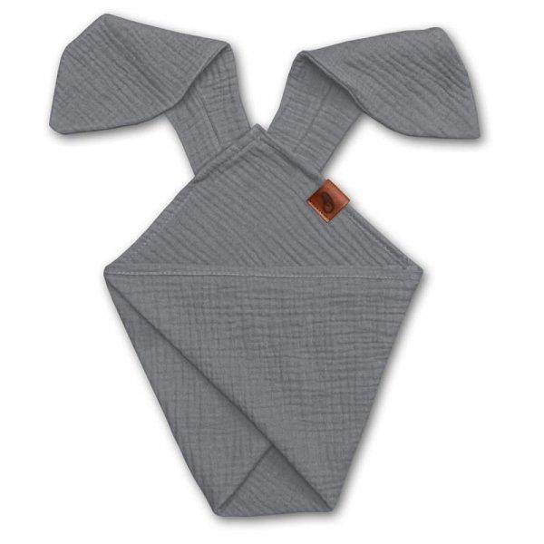 Pieluszka dla niemwląt dou dou uszami królika z organicznej BIO bawełny GOTS cozy muslin with ears 2in1 Grey - Hi Little One