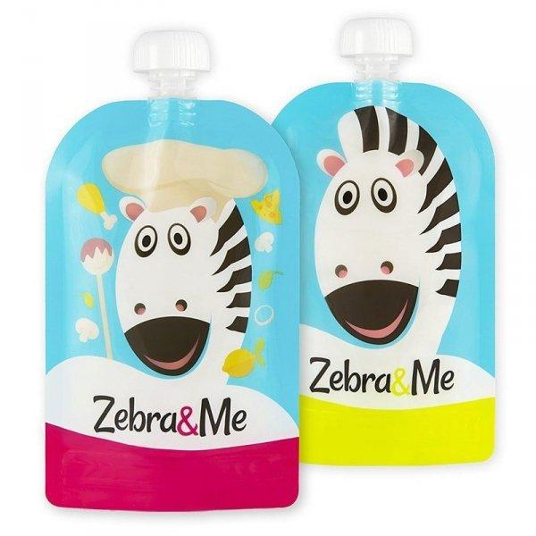 Saszetki do karmienia dzieci wielorazowe 2 PACK - Zebra & Me CHEF