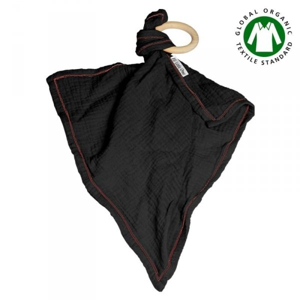 Muślinowa przytulanka dou dou z drewnianym gryzakiem w kolorze czarnym