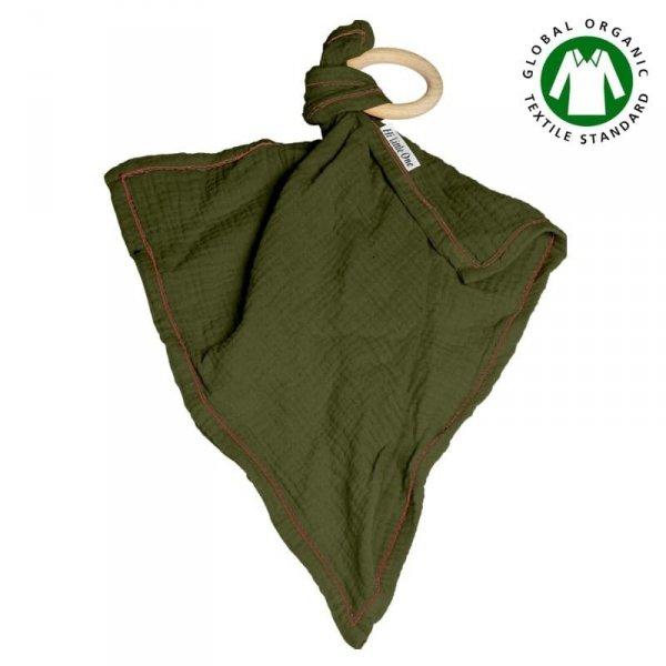 Muślinowa przytulanka dou dou z drewnianym gryzakiem w kolorze ciemno zielonym