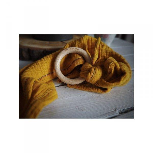 Muślinowa przytulanka dou dou z drewnianym gryzakiem w kolorze pomarańczowym