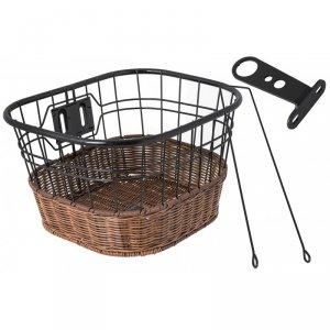 Koszyk na rower na kierownicę drut + imitacja wikliny, czarno-brązowy