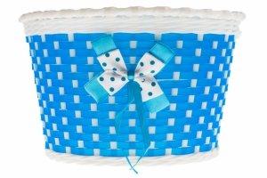 Koszyk na kierownicę dziecięcy plastikowy niebiesko-biały kokarda