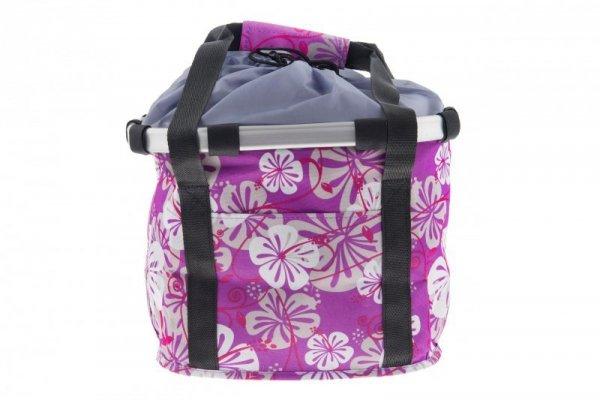 Koszyk na kierownicę z materiału HB-142 /KLIP/ 36x26x22 fioletowa w kwiatki