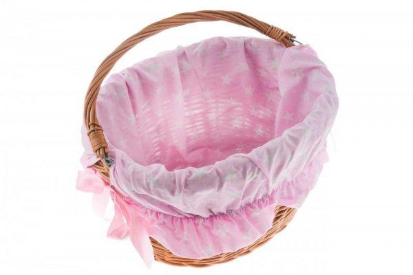 Wkładka do koszyka materiałowa, różowa w białe gwiazdki