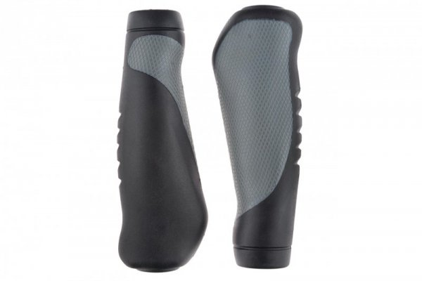 Chwyty kierownicy ergonomiczne HL-G306 135mm czarno-szare + korki