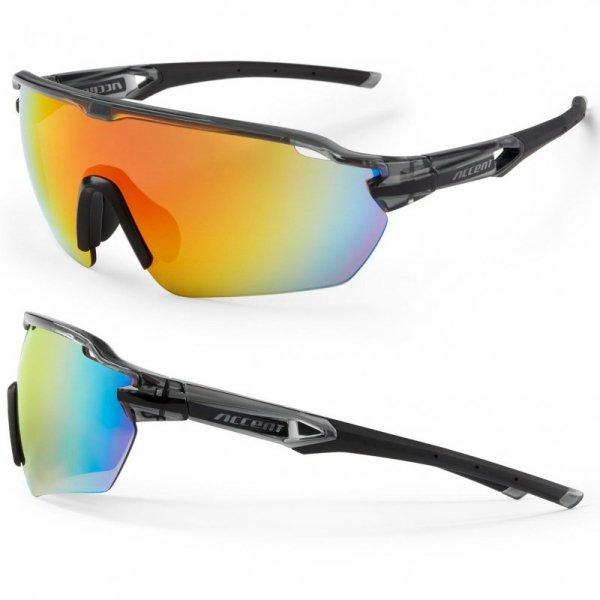 Okulary ACCENT Reflex czarno-szare, lustrzane UV400
