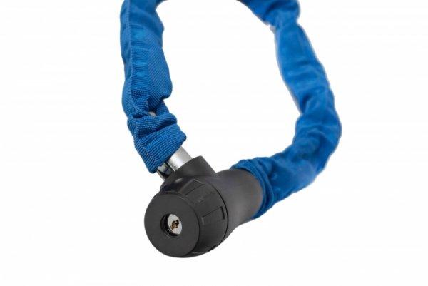 Zapięcie rowerowe na klucz ŁAŃCUCH 8x900mm w pokrowcu, niebieskie