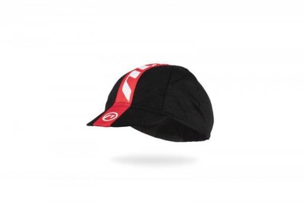 Czapka kolarska z daszkiem , bawełna , czarno-czerwona ,UNI ACCENT