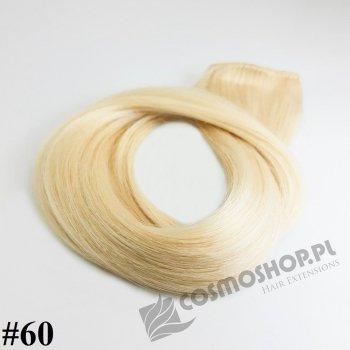 Zestaw Clip-in, długość 40 cm kolor #60 -BARDZO  JASNY BLOND, 130g