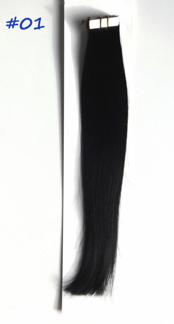Zestaw Tape on, długość 40 cm, kolor #01- Głęboka czerń