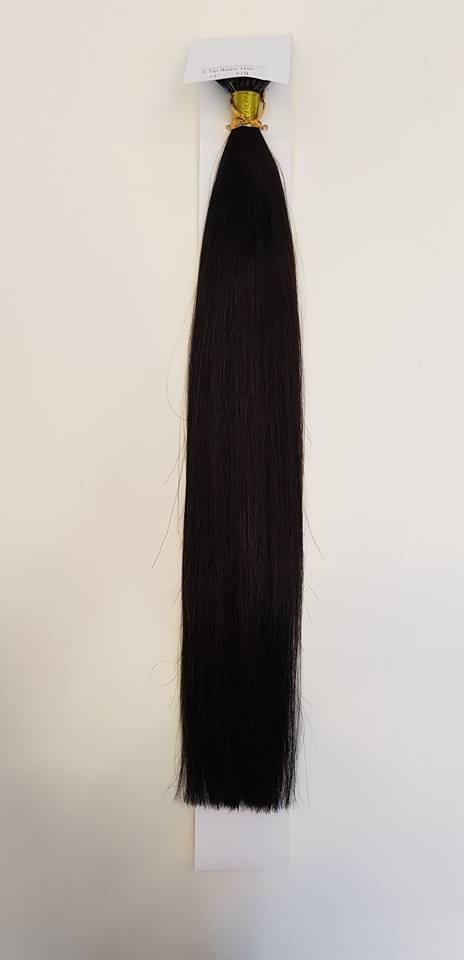 Zestaw włosów pod mikroringi, długość 40 cm kolor #1B - BARDZO CIEMNY BRĄZ