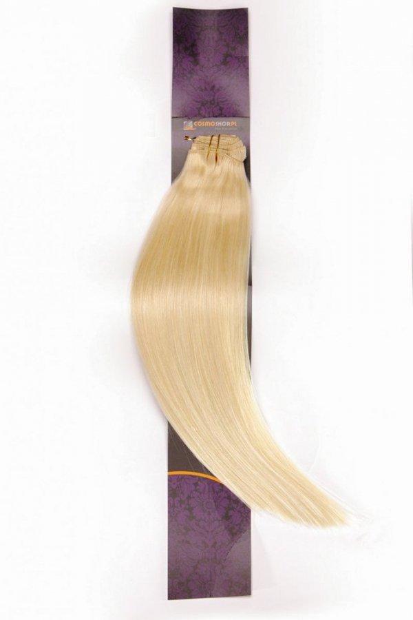 Zestaw Clip-in, długość 55 cm kolor #60 -BARDZO JASNY BLOND- 220g