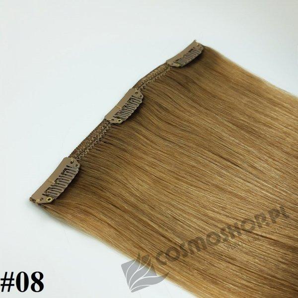 Zestaw Clip-in, długość 40 cm kolor #08 - NATURALNY JASNY BRĄZ, 130g
