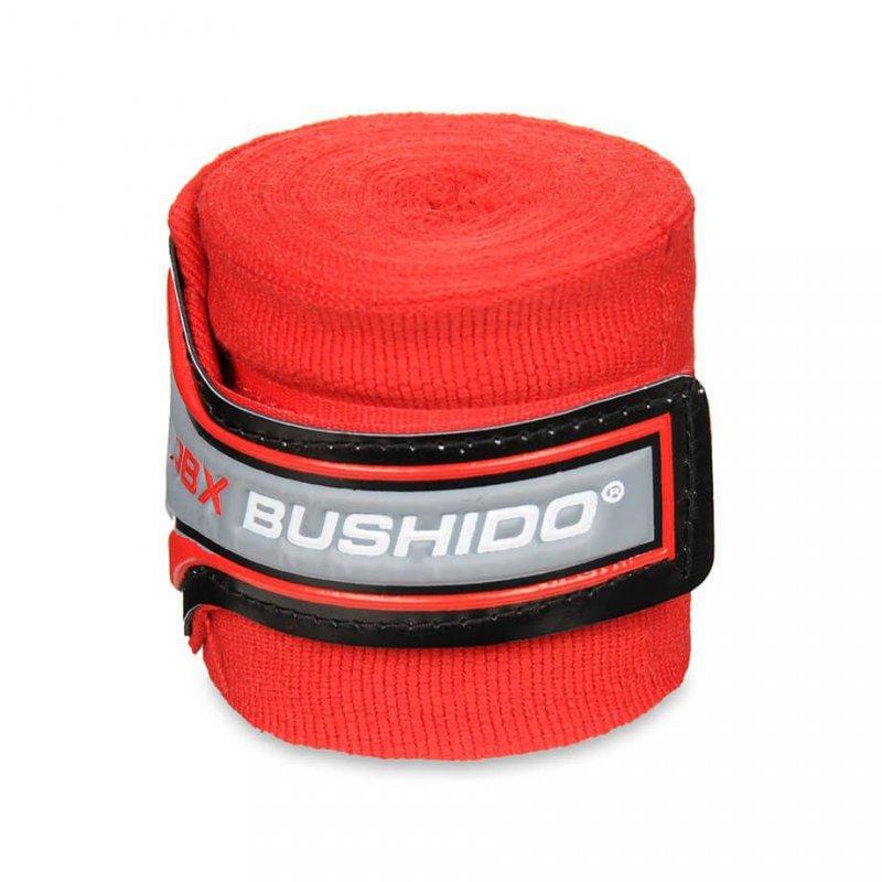 Elastyczne Bandaże Bokserskie Czerwone, Owijki, Długie 4M BUSHIDO