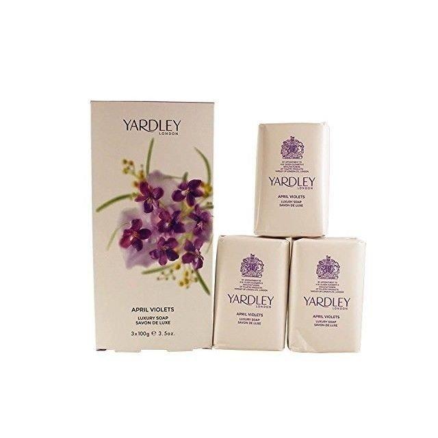 Yardley April Violets zestaw luksusowych mydeł 3 x 100 g