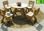 komplet masywnych mebli drewnianych - stół okrągły