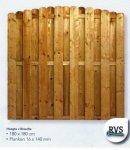 Drewniany płot sztachetowy TYTUS-2 z łukiem (180x180)