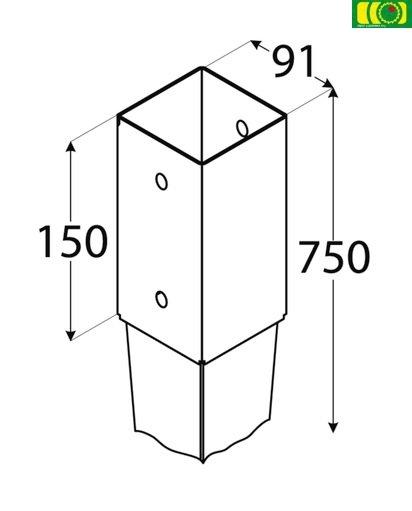 Metalowa kotwa wbijana 9x9