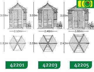 Altana Georgian, summerhouse duży / 2 okna, śr. 265 cm z gontem