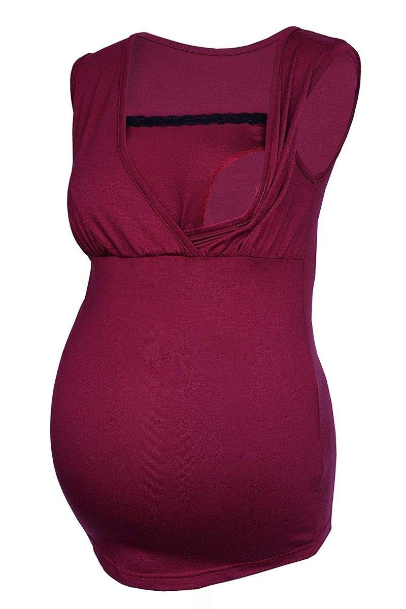MijaCulture - top ciążowy i do karmienia z koronką  4032/M45 bordo