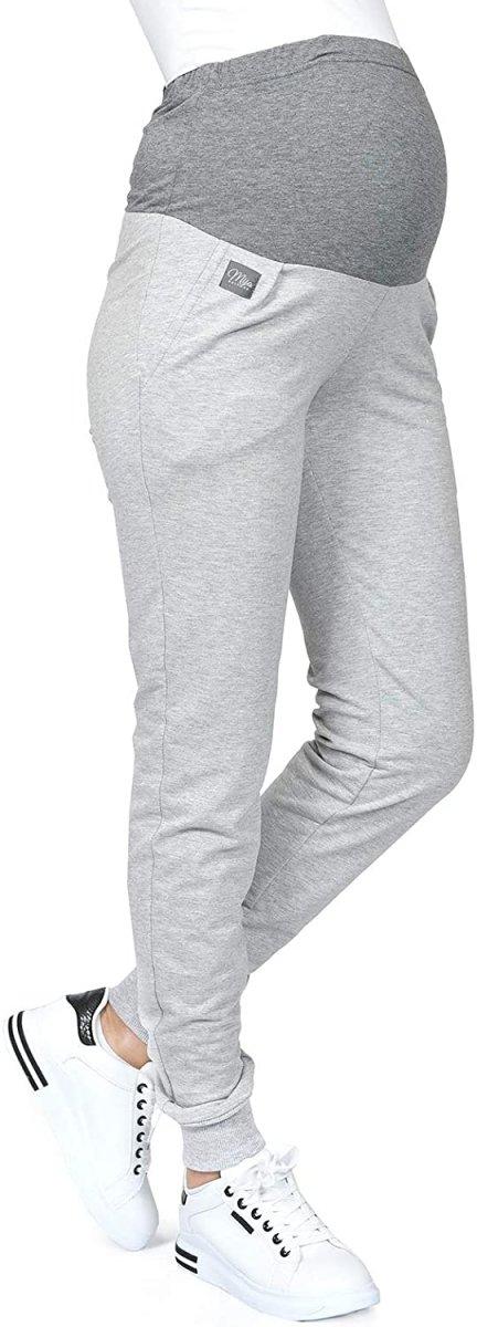 MijaCulture Wygodne spodnie dresowe ciążowe Coco M003 melanż1