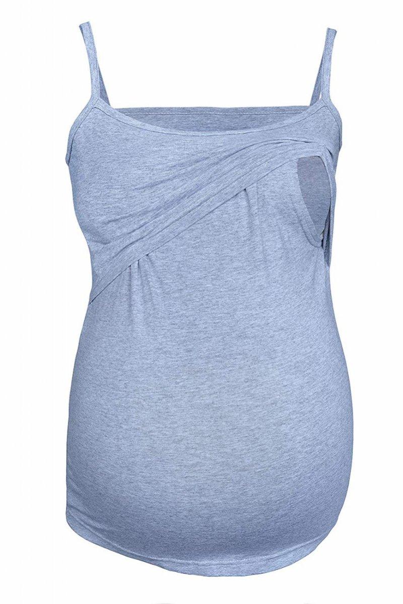 MijaCulture - top na ramiączkach 2 w 1 ciążowy i do karmienia 4029/M46 melanż