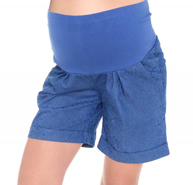 MijaCulture - cienkie szorty ciążowe 4074/M56 niebieskie druk