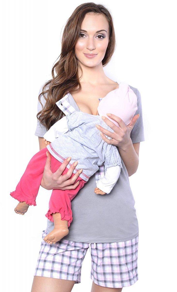 MijaCulture - 3 w 1 piżama ciążowa i do karmienia 4030/M47 szary