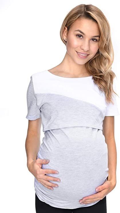 Bluzka ciążowa i do karmienia Jane 9093 kr. rękaw melanż 1