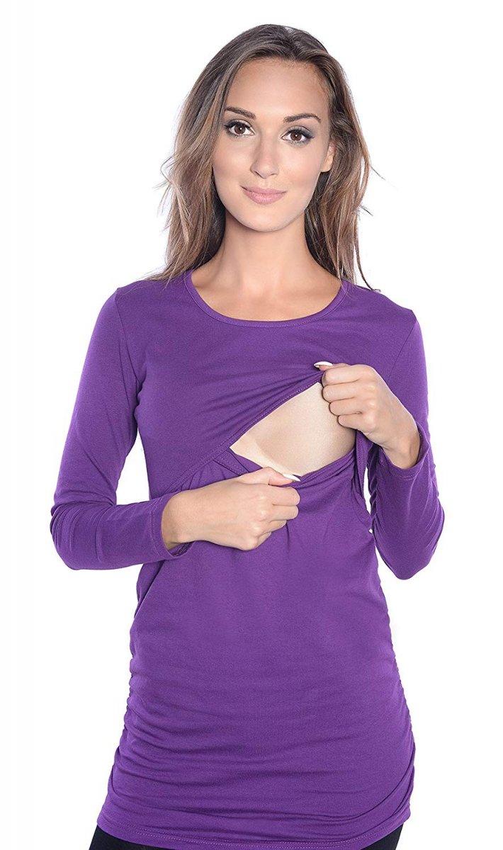MijaCulture - bluzka 2 w 1 ciążowa i do karmienia długi rękaw M04/3075 fiolet