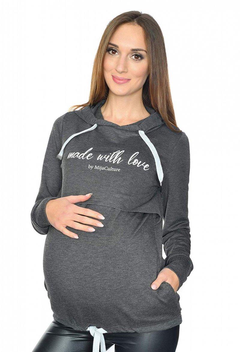 MijaCulture - 3 w 1 bluza ciążowa i do karmienia M68 4110 grafit Made with love