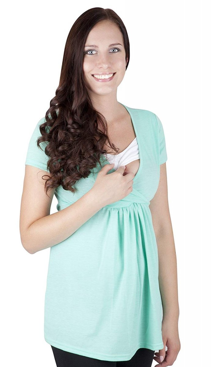 """MijaCulture - bluzka ciążowa 2 w 1 ciążowa i do karmienia krótki rękaw """" Dora"""" 7104  miętowy"""
