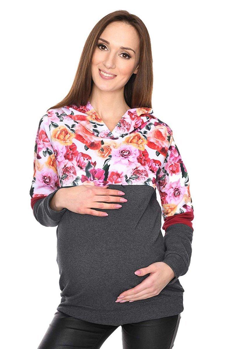 """MijaCulture - 3 w 1 bluza ciążowa i do karmienia """"Jane"""" 7144 grafit/kwiaty"""