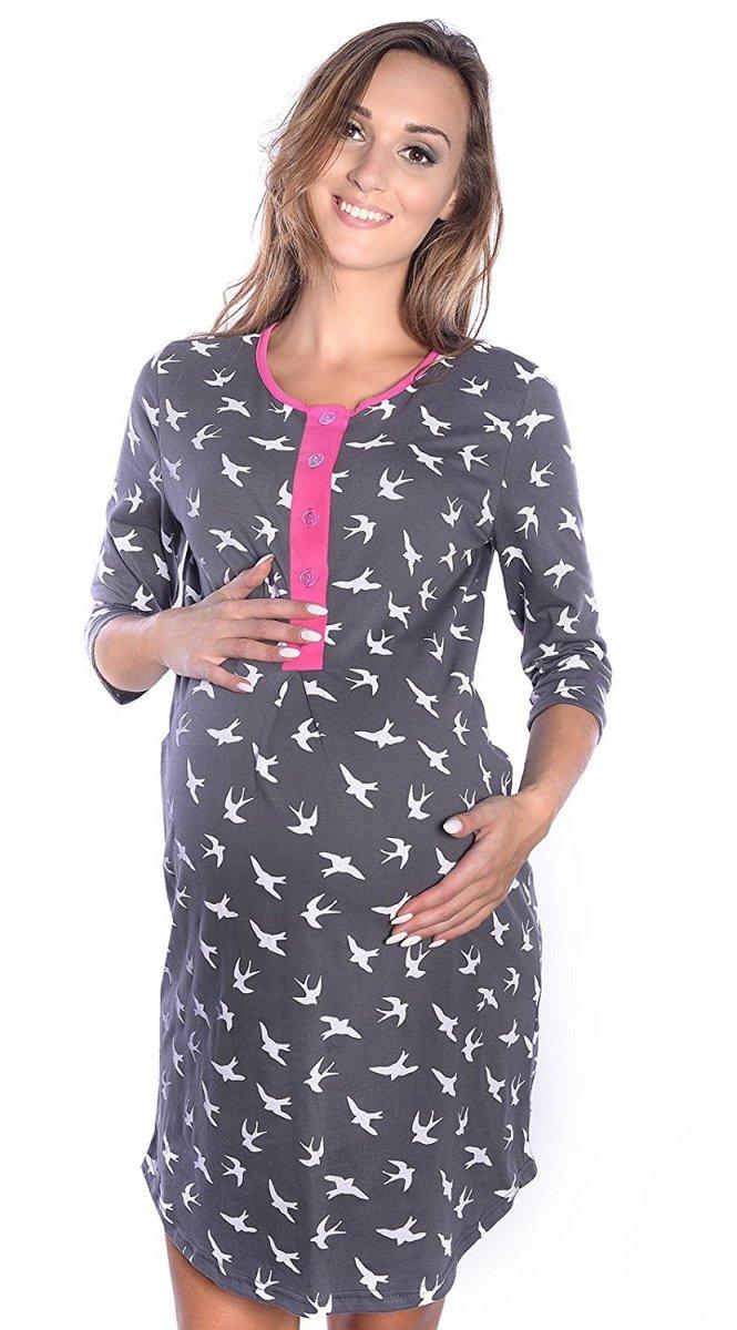 MijaCulture - 2 w 1 koszula nocna i do karmienia 4016/M31 grafit