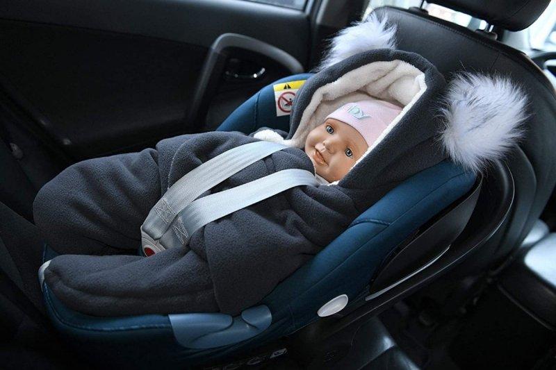MijaCulture Polarowy otulacz do fotelika nosidła 4126 odpinane uszy szary/biały1