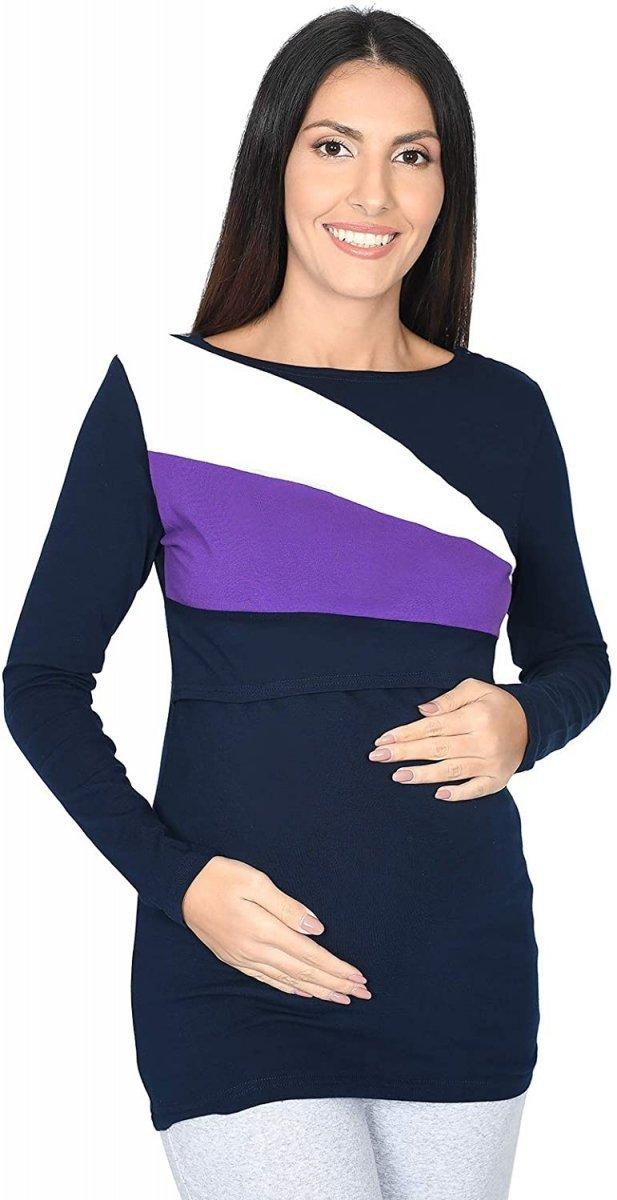 Praktyczna bluza ciążowa i do karmienia Paski 9088 granat/biały/fiolet1