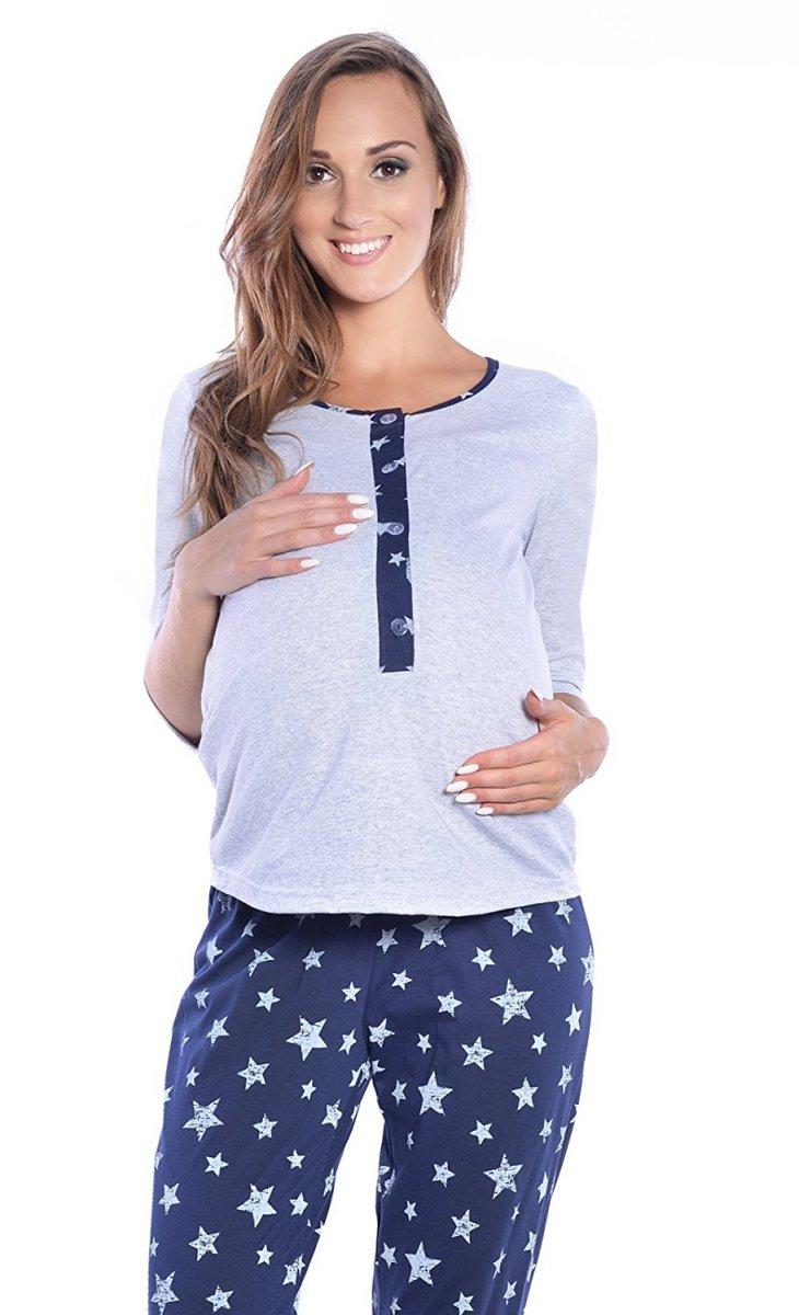 MijaCulture - 3 w 1 piżama ciążowa i do karmienia 4054/M52 szary/granat
