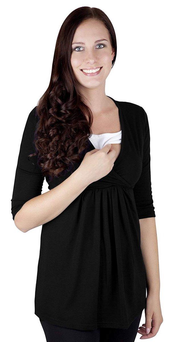 """MijaCulture - bluzka 2 w 1  ciążowa i do karmienia długi rękaw """"Dora II"""" 7103 czarny"""
